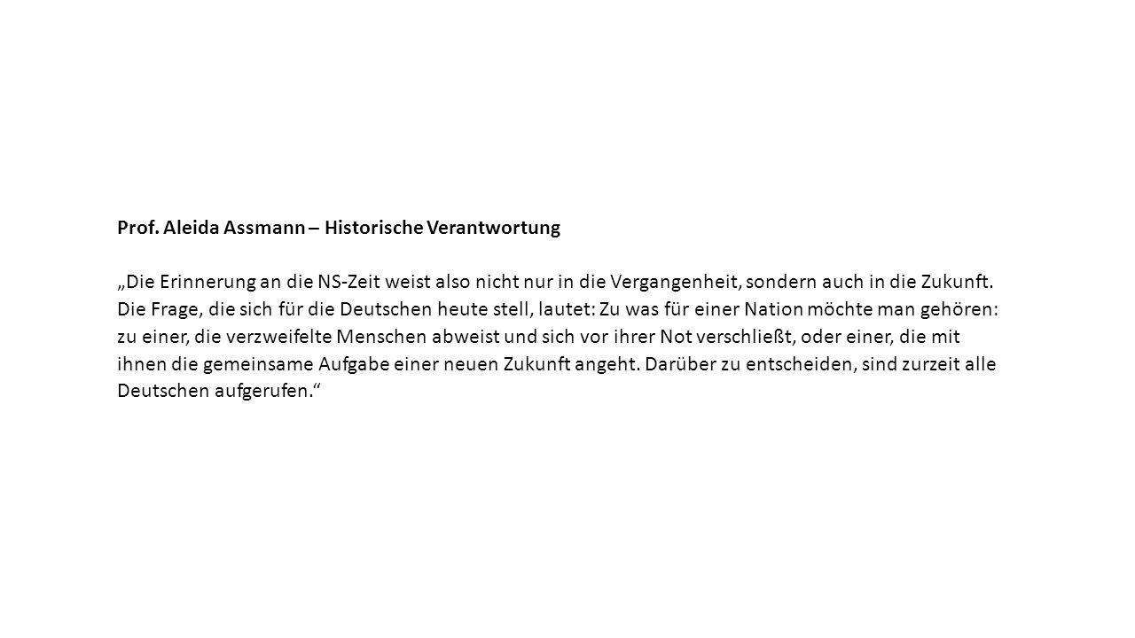 """Prof. Aleida Assmann – Historische Verantwortung """"Die Erinnerung an die NS-Zeit weist also nicht nur in die Vergangenheit, sondern auch in die Zukunft"""