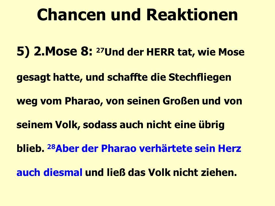 Chancen und Reaktionen 5) 2.Mose 8: 27 Und der HERR tat, wie Mose gesagt hatte, und schaffte die Stechfliegen weg vom Pharao, von seinen Großen und von seinem Volk, sodass auch nicht eine übrig blieb.