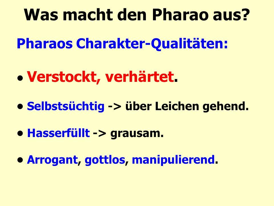 Was macht den Pharao aus? Pharaos Charakter-Qualitäten: Verstockt, verhärtet. Selbstsüchtig -> über Leichen gehend. Hasserfüllt -> grausam. Arrogant,