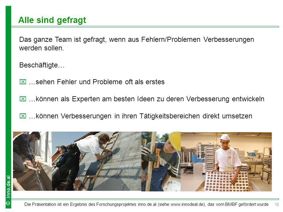 10 Die Präsentation ist ein Ergebnis des Forschungsprojektes inno.de.al (siehe www.innodeal.de), das vom BMBF gefördert wurde © inno.de.al Das ganze Team ist gefragt, wenn aus Fehlern/Problemen Verbesserungen werden sollen.