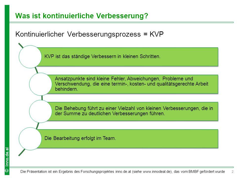 3 Die Präsentation ist ein Ergebnis des Forschungsprojektes inno.de.al (siehe www.innodeal.de), das vom BMBF gefördert wurde © inno.de.al Welche Leitgedanken stecken hinter KVP.