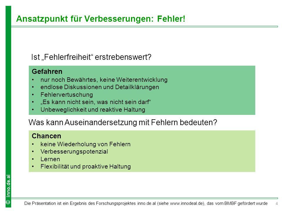 4 Die Präsentation ist ein Ergebnis des Forschungsprojektes inno.de.al (siehe www.innodeal.de), das vom BMBF gefördert wurde © inno.de.al Ansatzpunkt für Verbesserungen: Fehler.