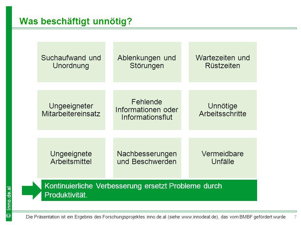 8 Die Präsentation ist ein Ergebnis des Forschungsprojektes inno.de.al (siehe www.innodeal.de), das vom BMBF gefördert wurde © inno.de.al Was kann verbessert werden.