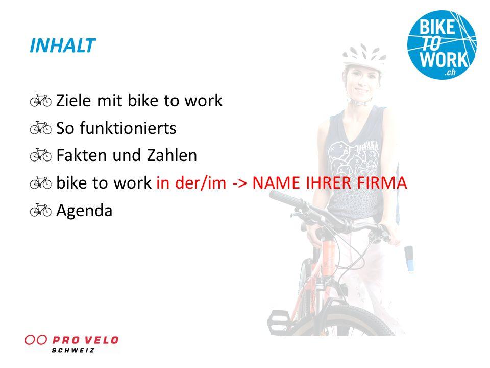 INHALT Ziele mit bike to work So funktionierts Fakten und Zahlen bike to work in der/im -> NAME IHRER FIRMA Agenda