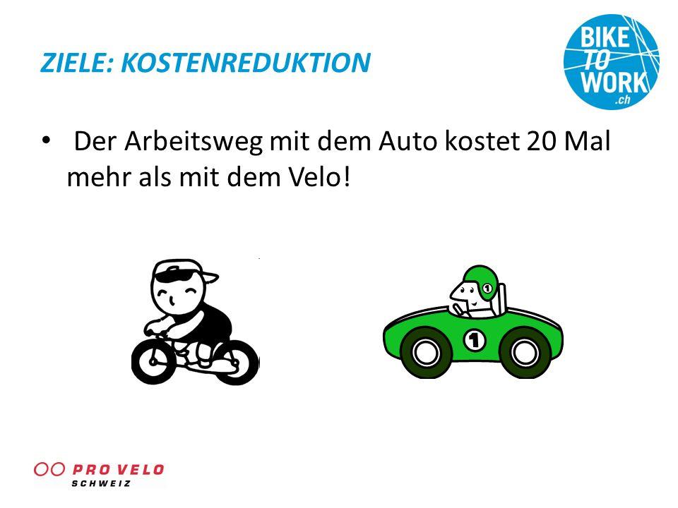 ZIELE: KOSTENREDUKTION Der Arbeitsweg mit dem Auto kostet 20 Mal mehr als mit dem Velo!