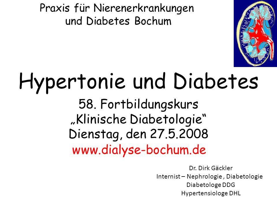 Praxis für Nierenerkrankungen und Diabetes Bochum US-Daten: 43% Hypertonie bei Typ 1 gegen 15% in der Allgemeinbevölkerung bei 37 bzw.
