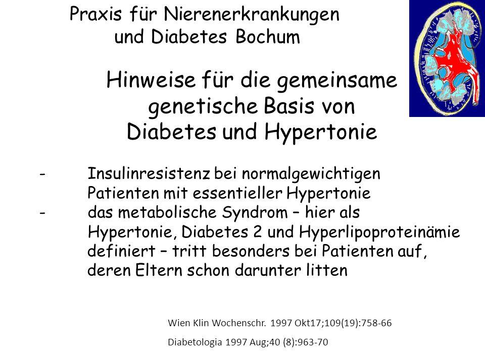 Praxis für Nierenerkrankungen und Diabetes Bochum Hinweise für die gemeinsame genetische Basis von Diabetes und Hypertonie -Insulinresistenz bei norma
