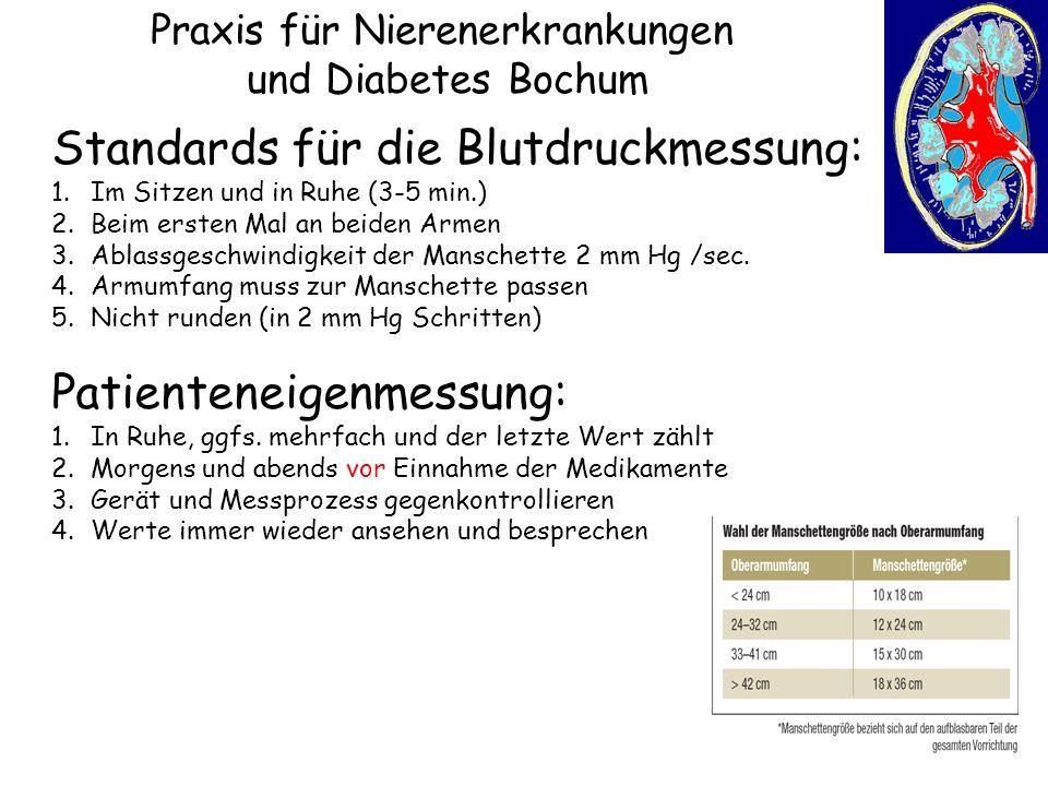 Praxis für Nierenerkrankungen und Diabetes Bochum Standards für die Blutdruckmessung: 1.Im Sitzen und in Ruhe (3-5 min.) 2.Beim ersten Mal an beiden A