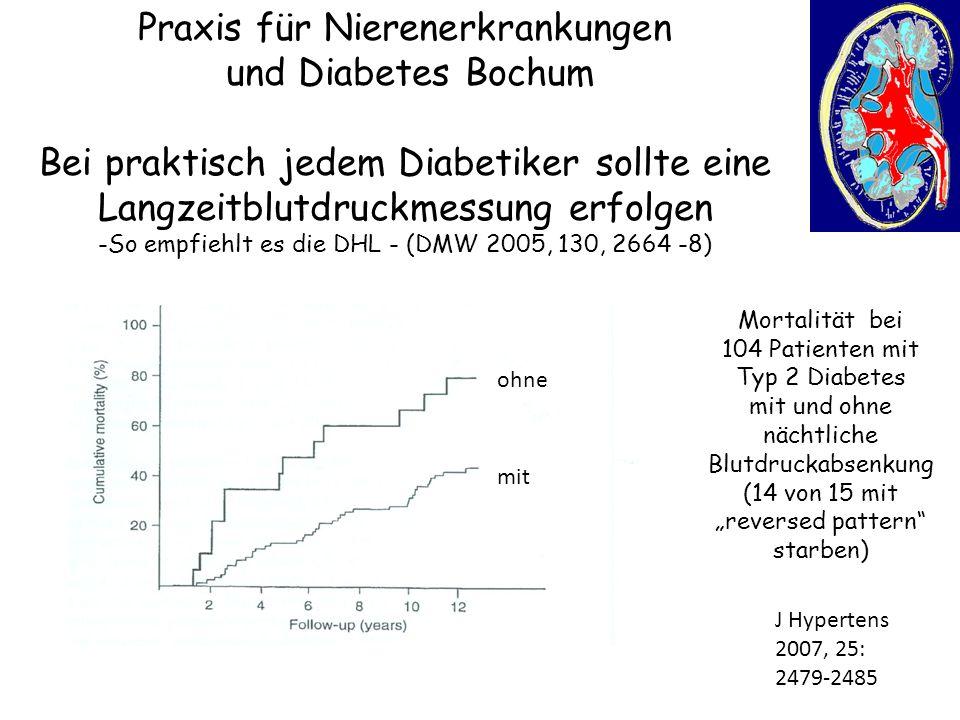 Praxis für Nierenerkrankungen und Diabetes Bochum Bei praktisch jedem Diabetiker sollte eine Langzeitblutdruckmessung erfolgen -So empfiehlt es die DH