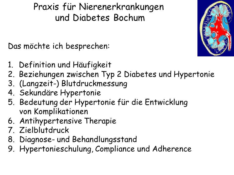 Praxis für Nierenerkrankungen und Diabetes Bochum Das möchte ich besprechen: 1. Definition und Häufigkeit 2. Beziehungen zwischen Typ 2 Diabetes und H