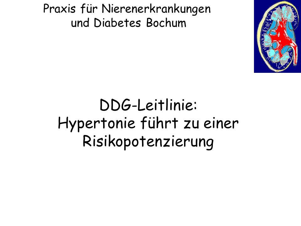 Praxis für Nierenerkrankungen und Diabetes Bochum DDG-Leitlinie: Hypertonie führt zu einer Risikopotenzierung