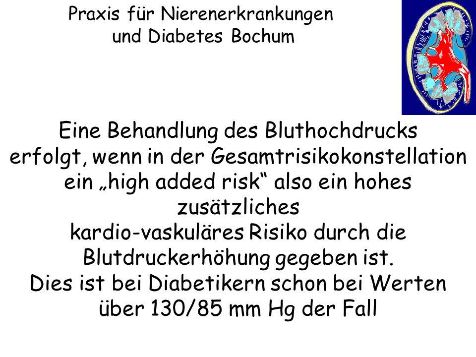 """Praxis für Nierenerkrankungen und Diabetes Bochum Eine Behandlung des Bluthochdrucks erfolgt, wenn in der Gesamtrisikokonstellation ein """"high added ri"""