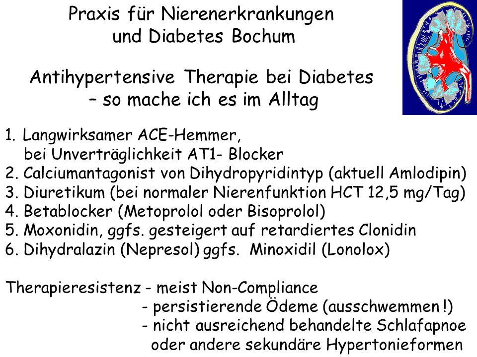 Praxis für Nierenerkrankungen und Diabetes Bochum Antihypertensive Therapie bei Diabetes – so mache ich es im Alltag 1.Langwirksamer ACE-Hemmer, bei U