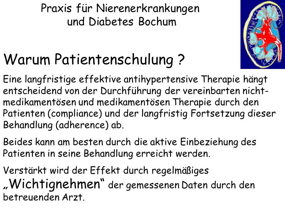 Praxis für Nierenerkrankungen und Diabetes Bochum Warum Patientenschulung ? Eine langfristige effektive antihypertensive Therapie hängt entscheidend v