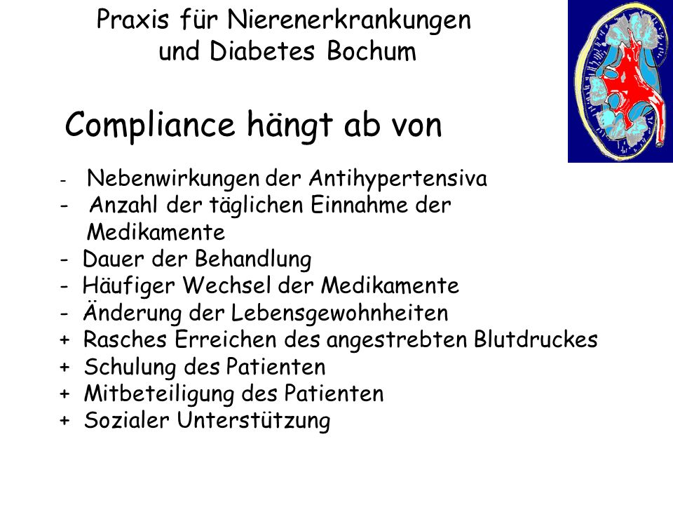 Praxis für Nierenerkrankungen und Diabetes Bochum Compliance hängt ab von - Nebenwirkungen der Antihypertensiva - Anzahl der täglichen Einnahme der Me