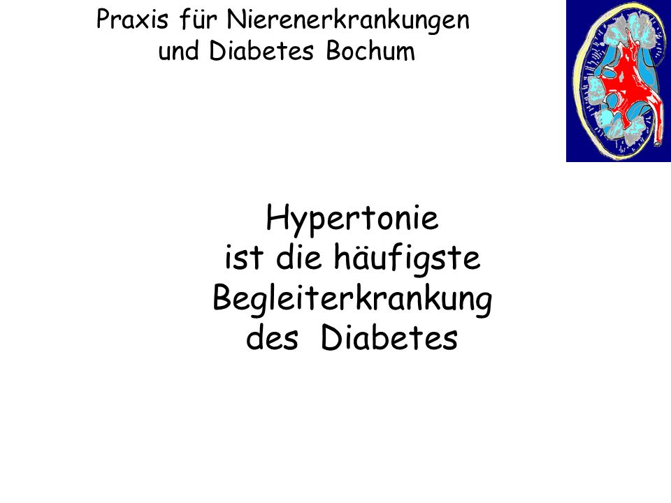 Praxis für Nierenerkrankungen und Diabetes Bochum Häufigkeit von Begleit- und Folge- erkrankungen bei Typ-2-Diabetes DMP-Bericht Westfalen -Lippe 2005 DMP Typ2-Diabetes KV Nordrhein Hypertonie 75,8% (n=162.280) Praxis für Nierenerkrankungen und Diabetes Bochum ¾ aller Typ 2 Diabetiker haben eine Hypertonie