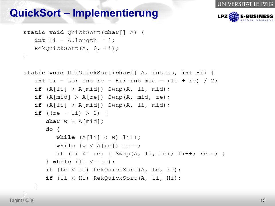 """16 DigInf 05/06 MergeSort ist ein """"Divide and Conquer -Algorithmus."""