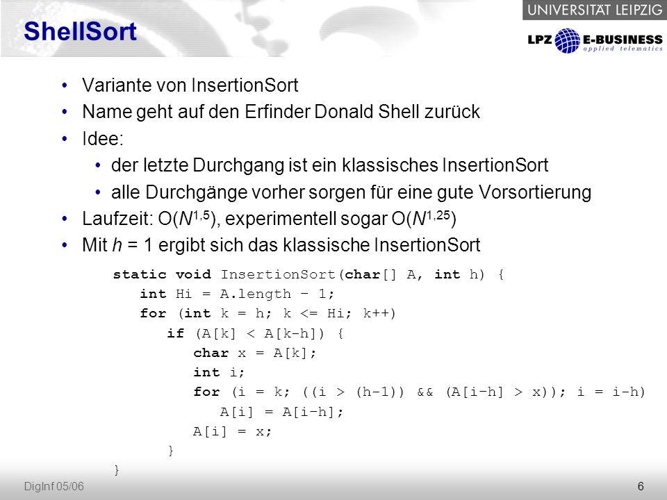 6 DigInf 05/06 Variante von InsertionSort Name geht auf den Erfinder Donald Shell zurück Idee: der letzte Durchgang ist ein klassisches InsertionSort