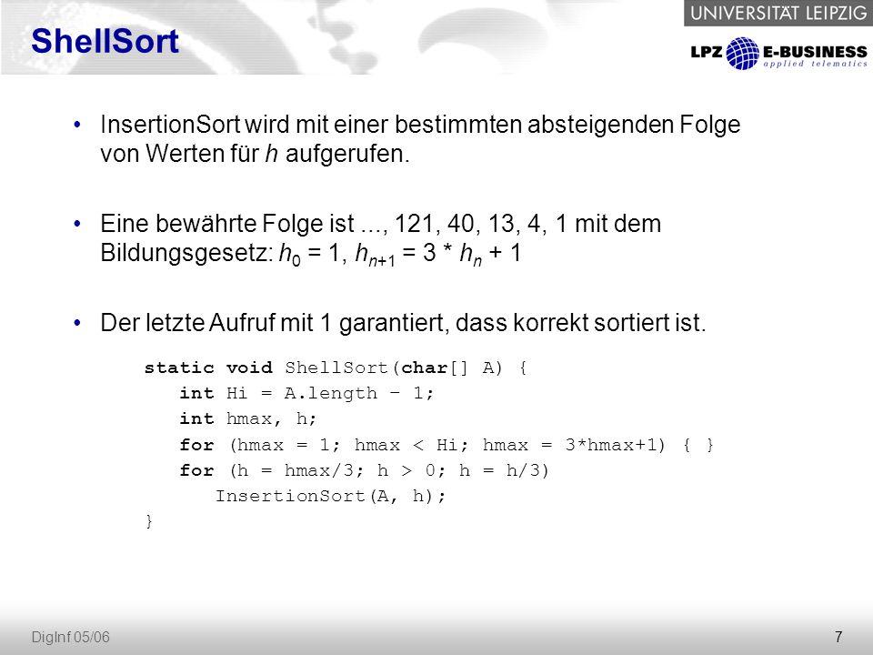 8 DigInf 05/06 Es gibt Sortieralgorithmen mit einer Laufzeit von N * log N Dazu gehören HeapSort, QuickSort, MergeSort (dazu später mehr) Schneller geht's im allgemeinen Fall nicht.
