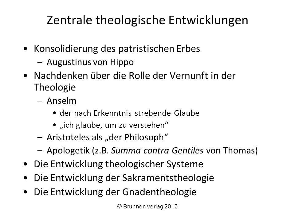 """Zentrale theologische Entwicklungen Konsolidierung des patristischen Erbes –Augustinus von Hippo Nachdenken über die Rolle der Vernunft in der Theologie –Anselm der nach Erkenntnis strebende Glaube """"ich glaube, um zu verstehen –Aristoteles als """"der Philosoph –Apologetik (z.B."""