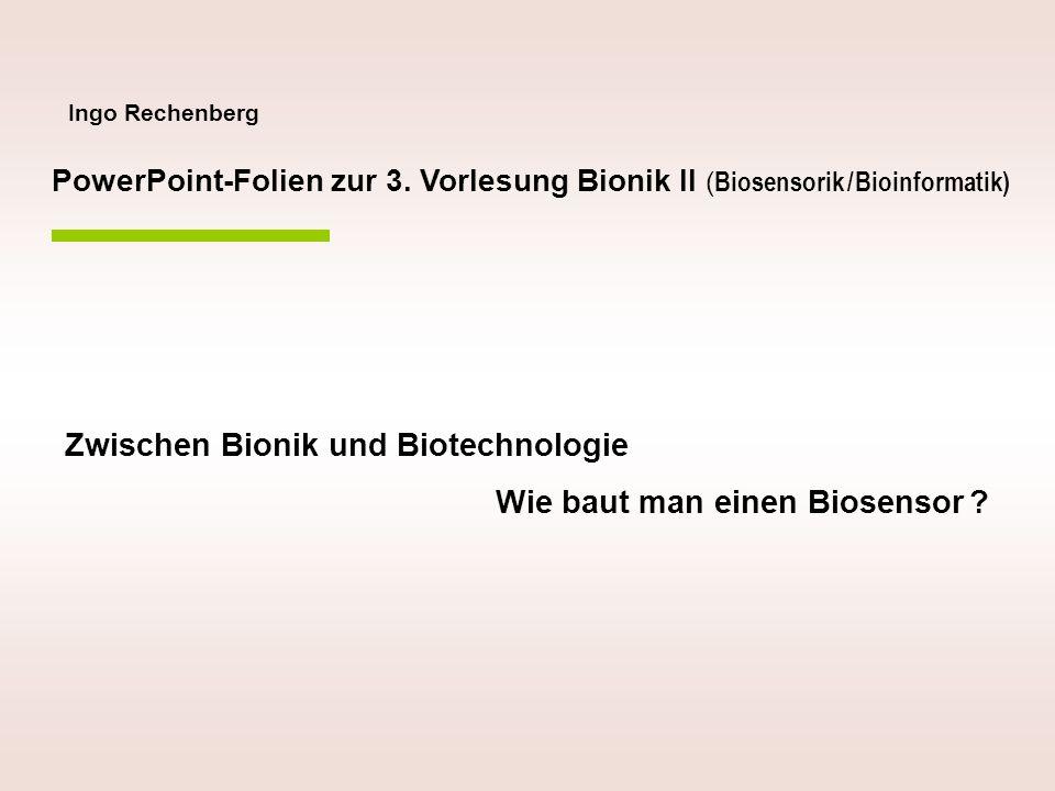 Ingo Rechenberg Zwischen Bionik und Biotechnologie Wie baut man einen Biosensor ? PowerPoint-Folien zur 3. Vorlesung Bionik II ( Biosensorik / Bioinfo