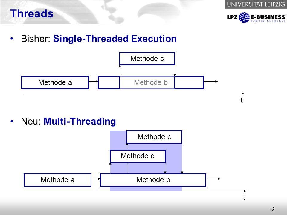 12 Threads Bisher: Single-Threaded Execution Neu: Multi-Threading Methode aMethode b Methode c t Methode aMethode b t Methode c
