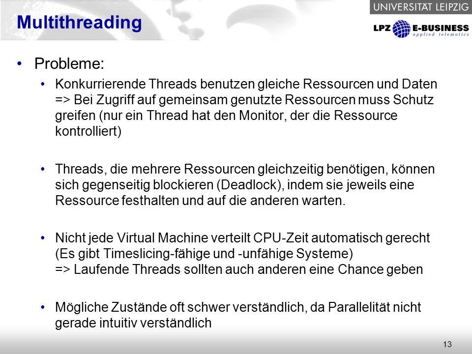 13 Multithreading Probleme: Konkurrierende Threads benutzen gleiche Ressourcen und Daten => Bei Zugriff auf gemeinsam genutzte Ressourcen muss Schutz greifen (nur ein Thread hat den Monitor, der die Ressource kontrolliert) Threads, die mehrere Ressourcen gleichzeitig benötigen, können sich gegenseitig blockieren (Deadlock), indem sie jeweils eine Ressource festhalten und auf die anderen warten.