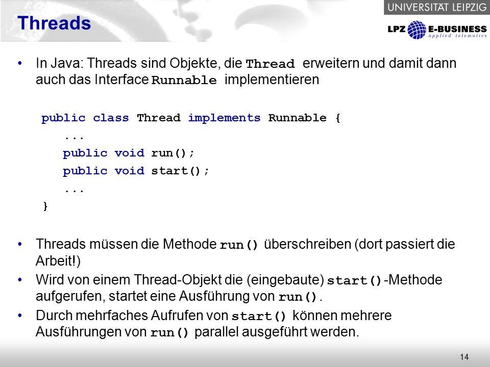 14 Threads In Java: Threads sind Objekte, die Thread erweitern und damit dann auch das Interface Runnable implementieren public class Thread implements Runnable {...
