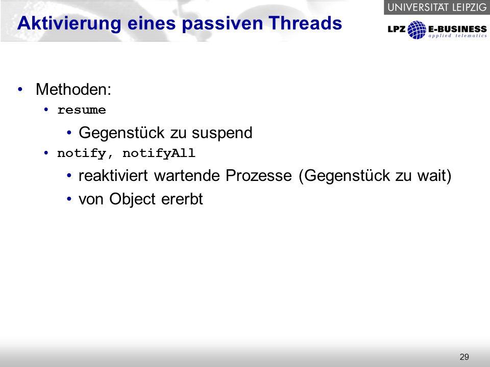 29 Aktivierung eines passiven Threads Methoden: resume Gegenstück zu suspend notify, notifyAll reaktiviert wartende Prozesse (Gegenstück zu wait) von Object ererbt