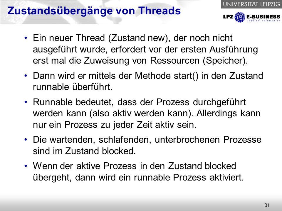 31 Ein neuer Thread (Zustand new), der noch nicht ausgeführt wurde, erfordert vor der ersten Ausführung erst mal die Zuweisung von Ressourcen (Speicher).
