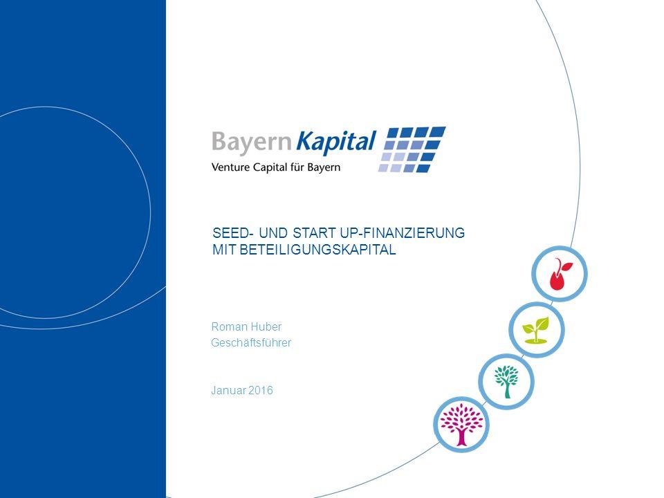 SEED- UND START UP-FINANZIERUNG MIT BETEILIGUNGSKAPITAL Roman Huber Geschäftsführer Januar 2016