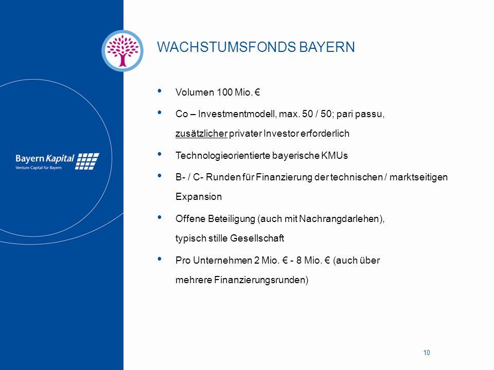 WACHSTUMSFONDS BAYERN 10 Volumen 100 Mio. € Co – Investmentmodell, max. 50 / 50; pari passu, zusätzlicher privater Investor erforderlich Technologieor