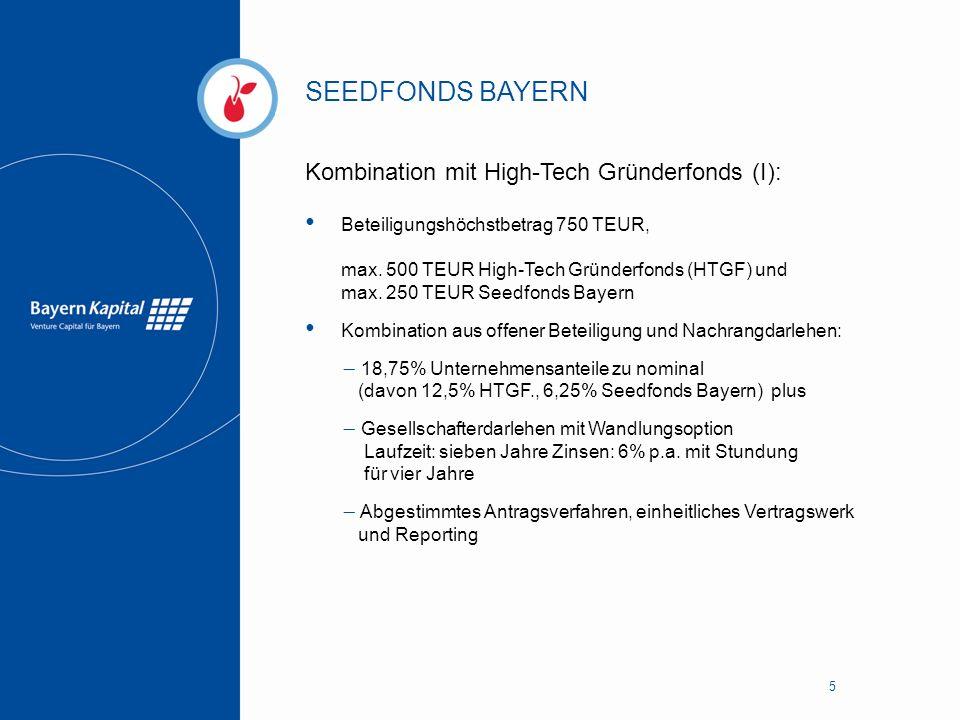 SEEDFONDS BAYERN 5 Kombination mit High-Tech Gründerfonds (I): Beteiligungshöchstbetrag 750 TEUR, max. 500 TEUR High-Tech Gründerfonds (HTGF) und max.