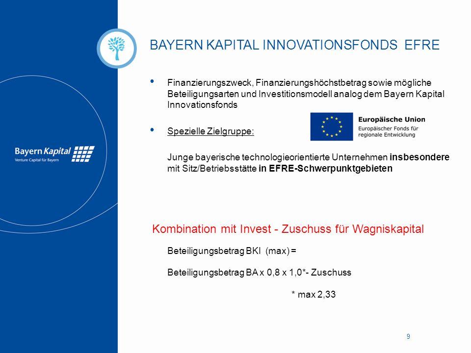BAYERN KAPITAL INNOVATIONSFONDS EFRE 9 Finanzierungszweck, Finanzierungshöchstbetrag sowie mögliche Beteiligungsarten und Investitionsmodell analog de