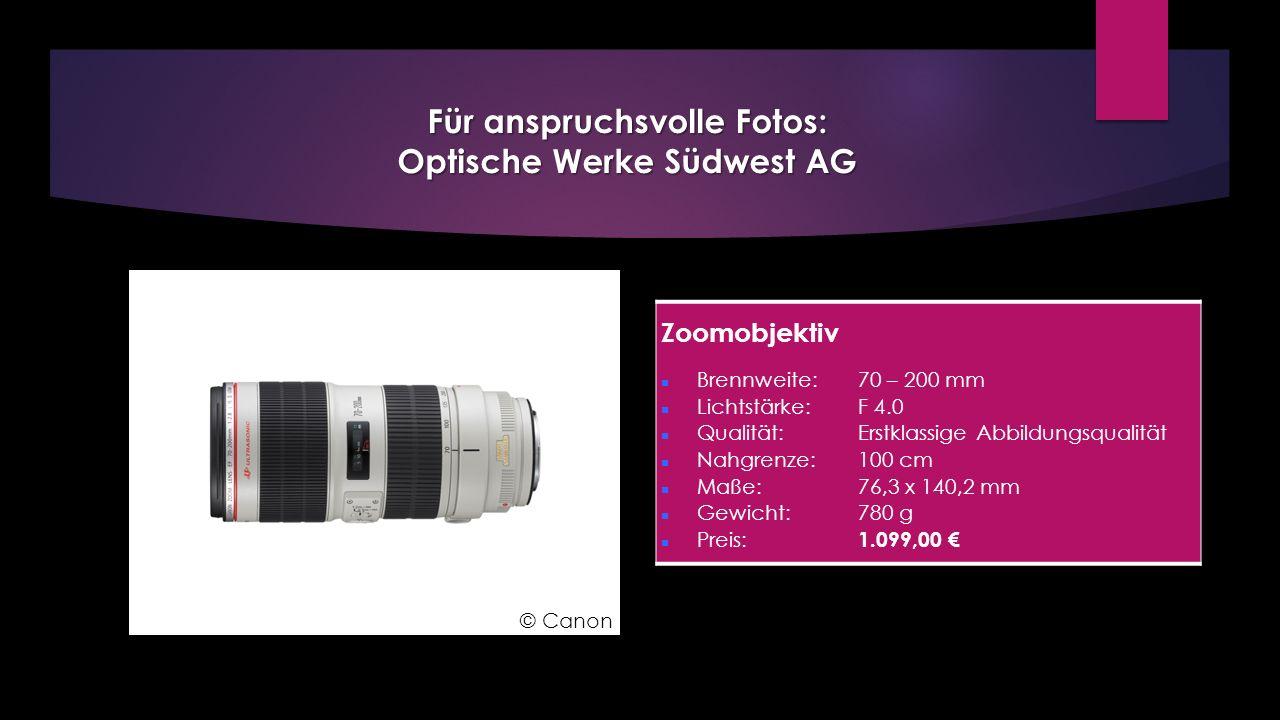 Zoomobjektiv Brennweite: 70 – 200 mm Lichtstärke: F 4.0 Qualität: Erstklassige Abbildungsqualität Nahgrenze: 100 cm Maße: 76,3 x 140,2 mm Gewicht: 780