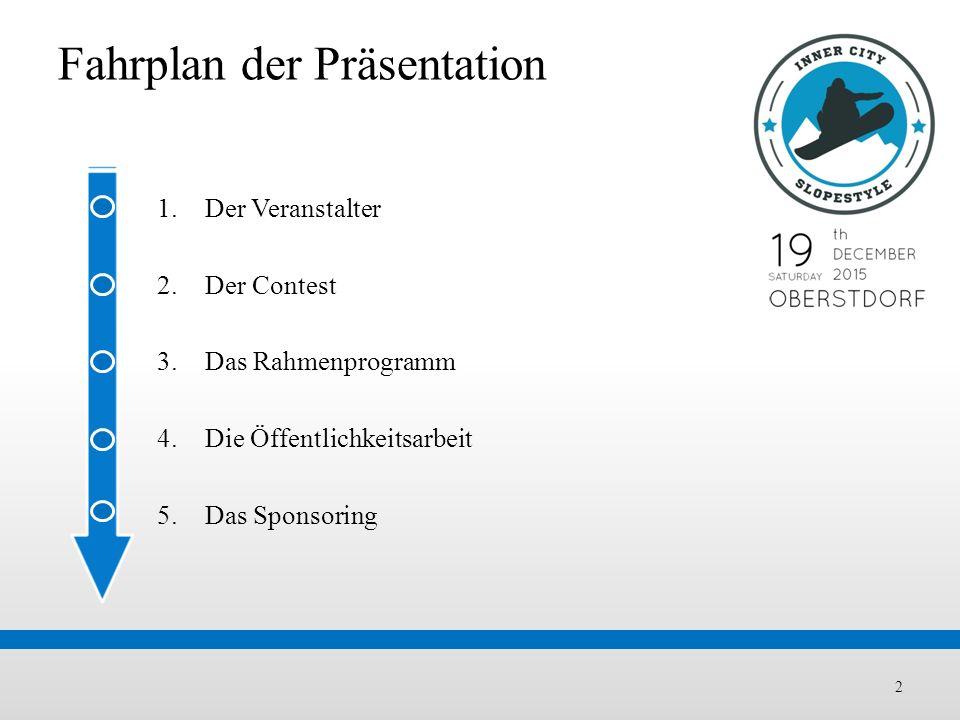 Fahrplan der Präsentation 2 1.Der Veranstalter 2.Der Contest 3.Das Rahmenprogramm 4.Die Öffentlichkeitsarbeit 5.Das Sponsoring