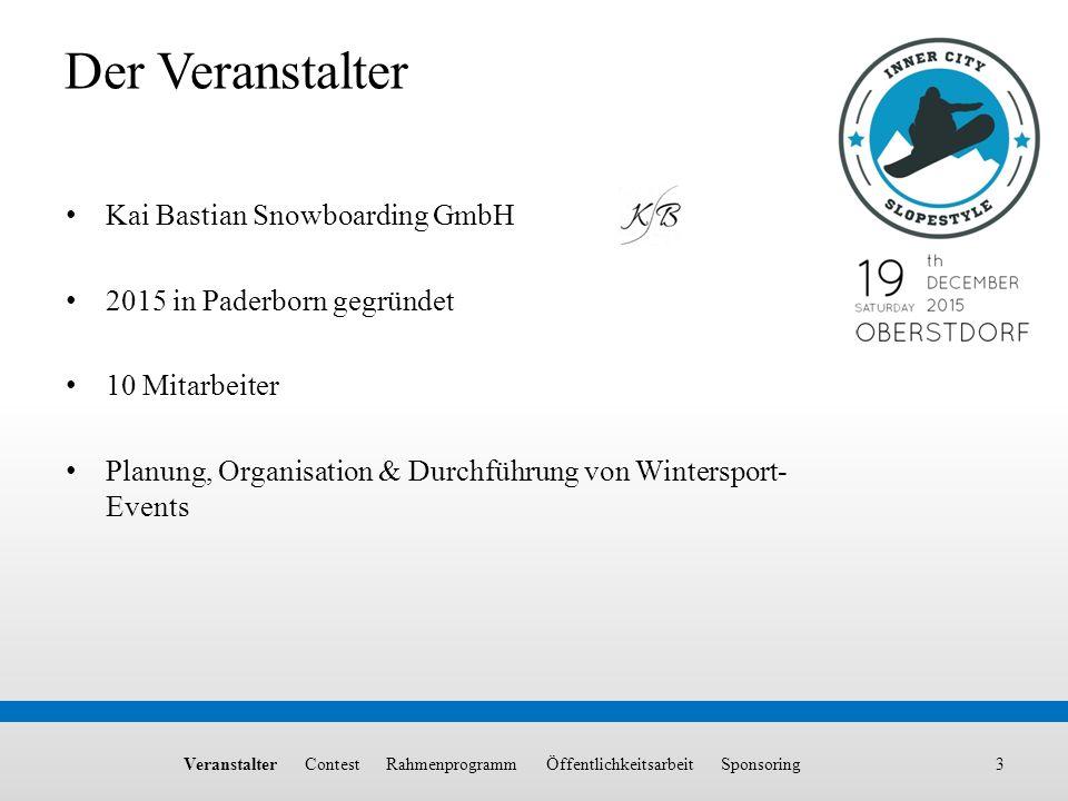 Kai Bastian Snowboarding GmbH 2015 in Paderborn gegründet 10 Mitarbeiter Planung, Organisation & Durchführung von Wintersport- Events Veranstalter Con
