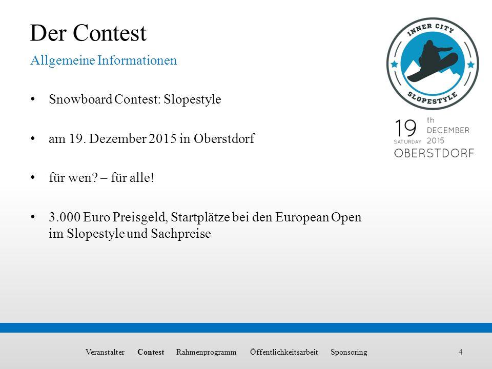 Allgemeine Informationen 4 Der Contest Snowboard Contest: Slopestyle am 19. Dezember 2015 in Oberstdorf für wen? – für alle! 3.000 Euro Preisgeld, Sta