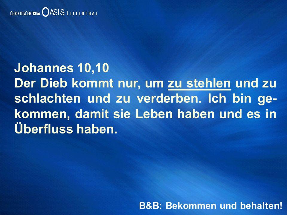 Johannes 10,10 Der Dieb kommt nur, um zu stehlen und zu schlachten und zu verderben.