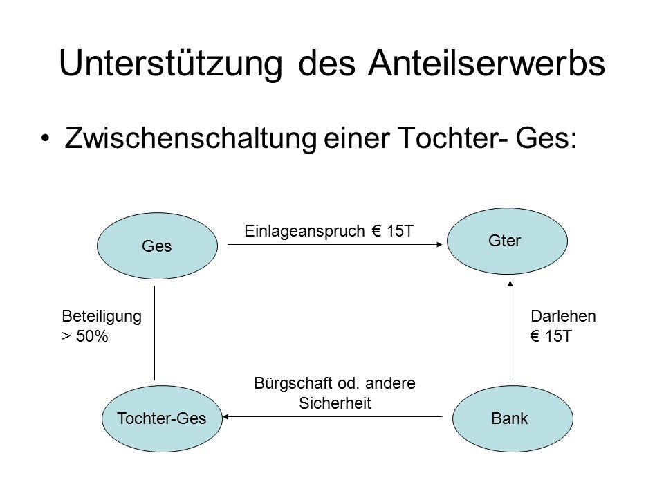 Unterstützung des Anteilserwerbs Zwischenschaltung einer Tochter- Ges: Ges Gter Bank Einlageanspruch € 15T Darlehen € 15T Tochter-Ges Beteiligung > 50% Bürgschaft od.