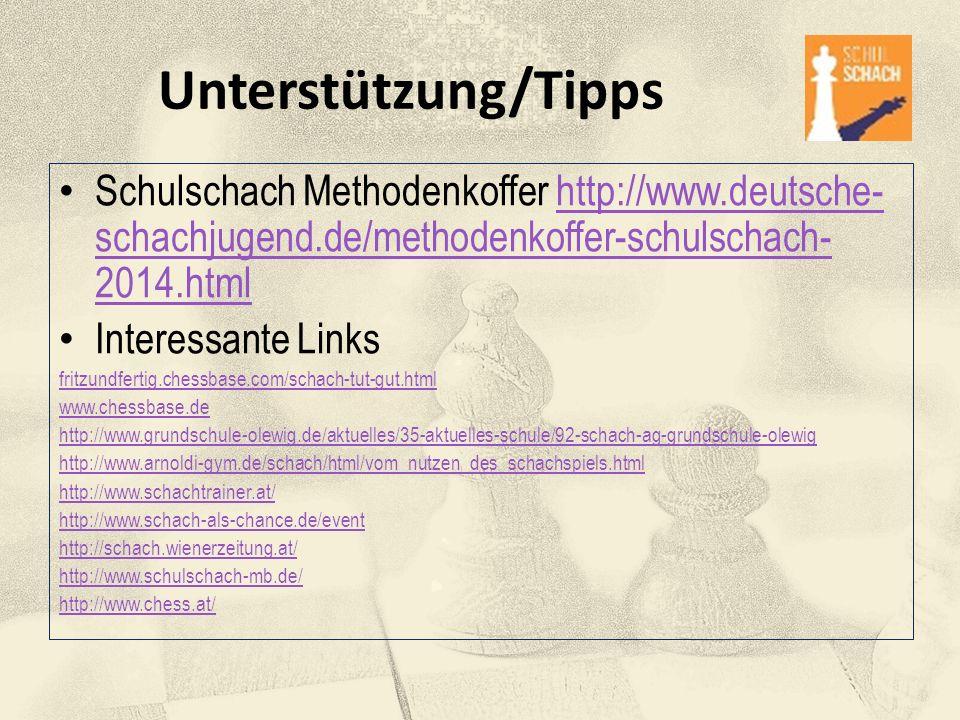 Unterstützung/Tipps Schulschach Methodenkoffer http://www.deutsche- schachjugend.de/methodenkoffer-schulschach- 2014.htmlhttp://www.deutsche- schachju