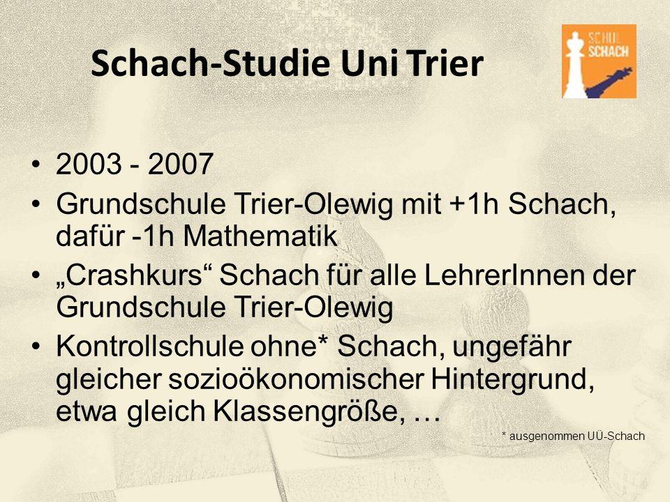 """Schach-Studie Uni Trier 2003 - 2007 Grundschule Trier-Olewig mit +1h Schach, dafür -1h Mathematik """"Crashkurs"""" Schach für alle LehrerInnen der Grundsch"""