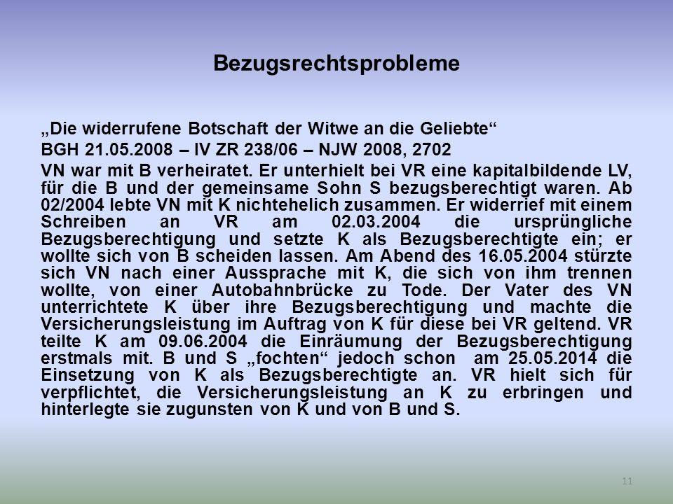 """Bezugsrechtsprobleme """"Die widerrufene Botschaft der Witwe an die Geliebte BGH 21.05.2008 – IV ZR 238/06 – NJW 2008, 2702 VN war mit B verheiratet."""