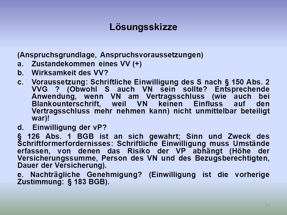 Lösungsskizze (Anspruchsgrundlage, Anspruchsvoraussetzungen) a.Zustandekommen eines VV (+) b.Wirksamkeit des VV.
