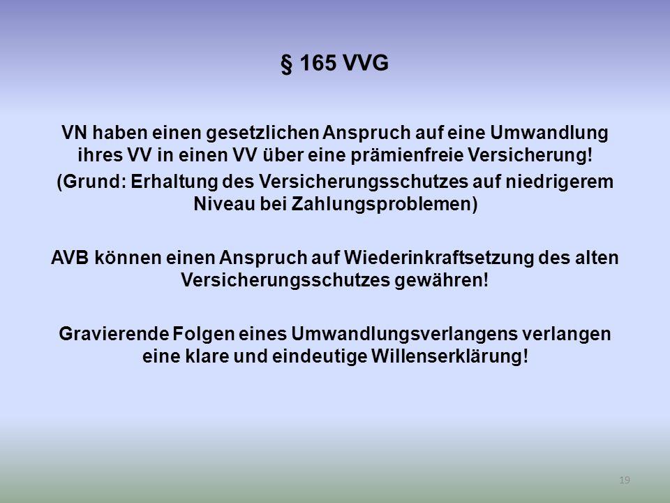 § 165 VVG VN haben einen gesetzlichen Anspruch auf eine Umwandlung ihres VV in einen VV über eine prämienfreie Versicherung.