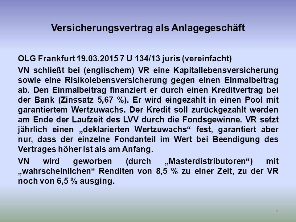 Versicherungsvertrag als Anlagegeschäft OLG Frankfurt 19.03.2015 7 U 134/13 juris (vereinfacht) VN schließt bei (englischem) VR eine Kapitallebensversicherung sowie eine Risikolebensversicherung gegen einen Einmalbeitrag ab.