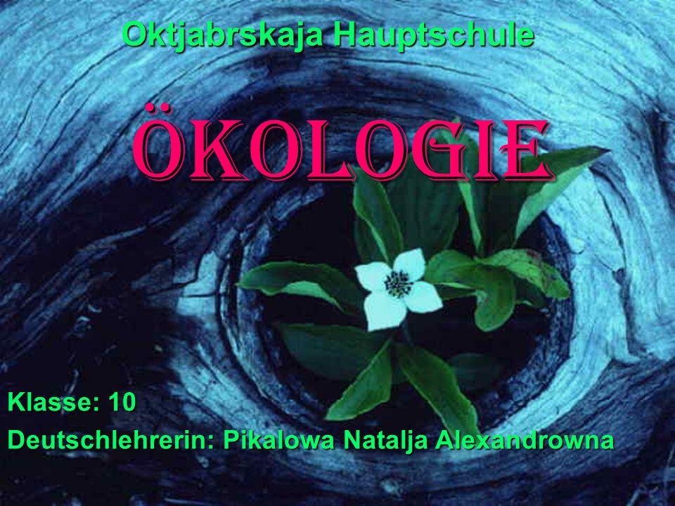 Ökologie Oktjabrskaja Hauptschule Klasse: 10 Deutschlehrerin: Pikalowa Natalja Alexandrowna
