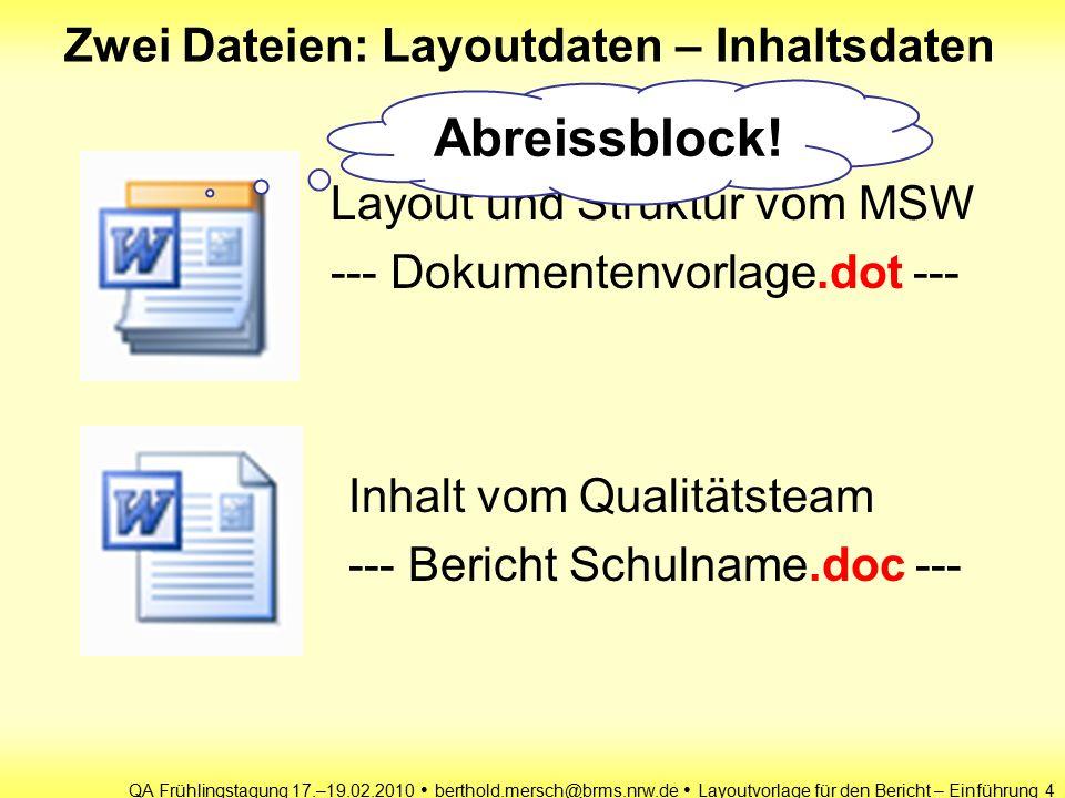 QA Frühlingstagung 17.–19.02.2010 berthold.mersch@brms.nrw.de Layoutvorlage für den Bericht – Einführung 4 Zwei Dateien: Layoutdaten – Inhaltsdaten Layout und Struktur vom MSW --- Dokumentenvorlage.dot --- Inhalt vom Qualitätsteam --- Bericht Schulname.doc --- Abreissblock!
