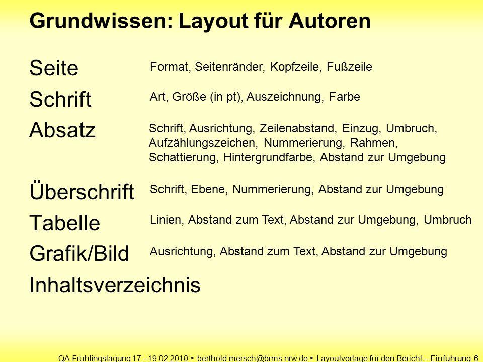 QA Frühlingstagung 17.–19.02.2010 berthold.mersch@brms.nrw.de Layoutvorlage für den Bericht – Einführung 7 pt - das DTP-Punkt-System ist der 864.