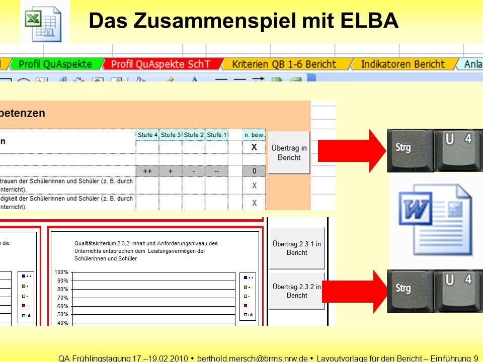 QA Frühlingstagung 17.–19.02.2010 berthold.mersch@brms.nrw.de Layoutvorlage für den Bericht – Einführung 9 Das Zusammenspiel mit ELBA